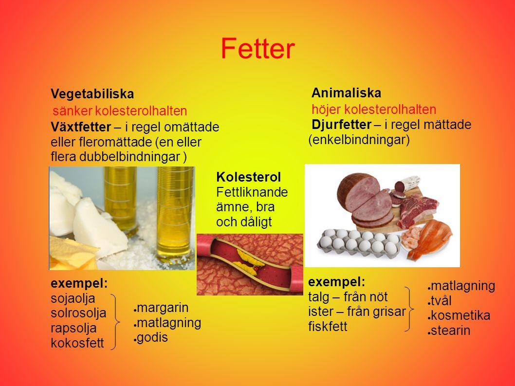 Fetter Vegetabiliska Animaliska Djurfetter – i regel mättade (enkelbindningar) Växtfetter – i regel omättade eller fleromättade (en eller flera dubbelbindningar ) exempel: sojaolja solrosolja rapsolja kokosfett exempel: talg – från nöt ister – från grisar fiskfett ● matlagning ● tvål ● kosmetika ● stearin ● margarin ● matlagning ● godis Kolesterol Fettliknande ämne, bra och dåligt sänker kolesterolhalten höjer kolesterolhalten