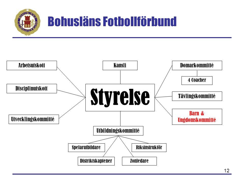 Bohusläns Fotbollförbund 12 Styrelse Arbetsutskott Disciplinutskott Tävlingskommitté Utbildningskommitté Barn & Ungdomskommitté SpelarutbildareRiksins