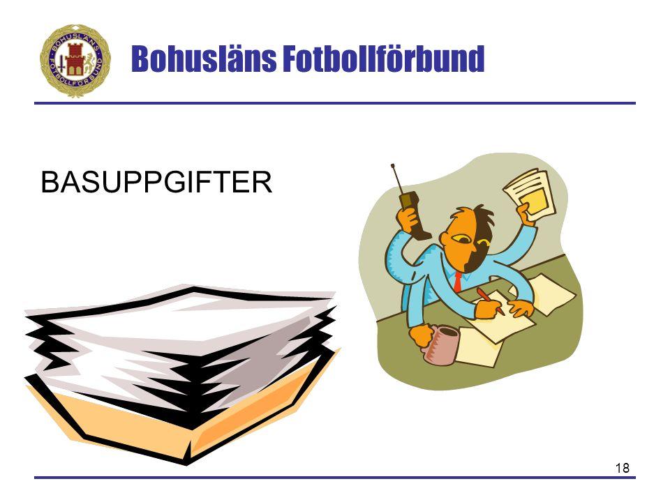 Bohusläns Fotbollförbund 18 BASUPPGIFTER