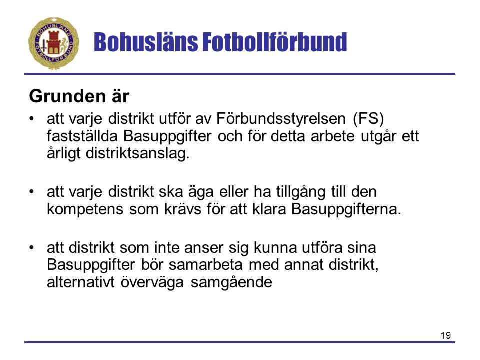 Bohusläns Fotbollförbund 19 Grunden är att varje distrikt utför av Förbundsstyrelsen (FS) fastställda Basuppgifter och för detta arbete utgår ett årligt distriktsanslag.