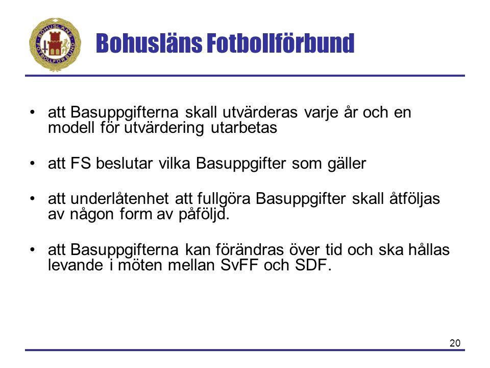 Bohusläns Fotbollförbund 20 att Basuppgifterna skall utvärderas varje år och en modell för utvärdering utarbetas att FS beslutar vilka Basuppgifter som gäller att underlåtenhet att fullgöra Basuppgifter skall åtföljas av någon form av påföljd.
