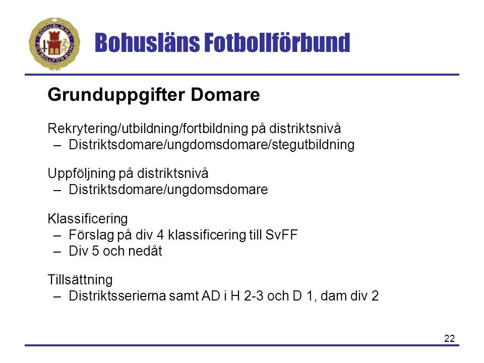 Bohusläns Fotbollförbund 22 Grunduppgifter Domare Rekrytering/utbildning/fortbildning på distriktsnivå –Distriktsdomare/ungdomsdomare/stegutbildning U