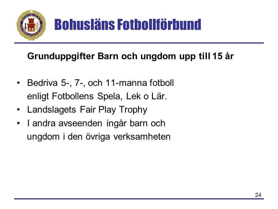 Bohusläns Fotbollförbund 24 Grunduppgifter Barn och ungdom upp till 15 år Bedriva 5-, 7-, och 11-manna fotboll enligt Fotbollens Spela, Lek o Lär. Lan