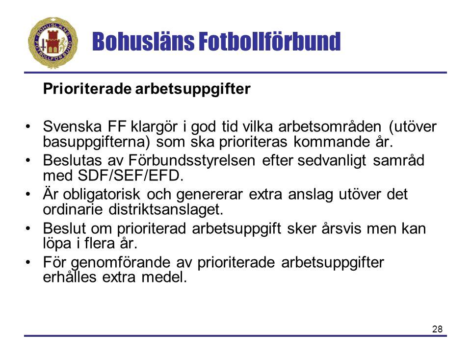 Bohusläns Fotbollförbund 28 Prioriterade arbetsuppgifter Svenska FF klargör i god tid vilka arbetsområden (utöver basuppgifterna) som ska prioriteras