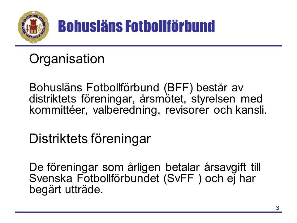 Bohusläns Fotbollförbund 14 Styrelse Arbetsutskott Disciplinutskott Tävlingskommitté Utbildningskommitté Barn & Ungdomskommitté SpelarutbildareRiksinstruktör Distriktskaptener Kansli 4 Coacher Zonledare Utvecklingskommitté Domarkommitté