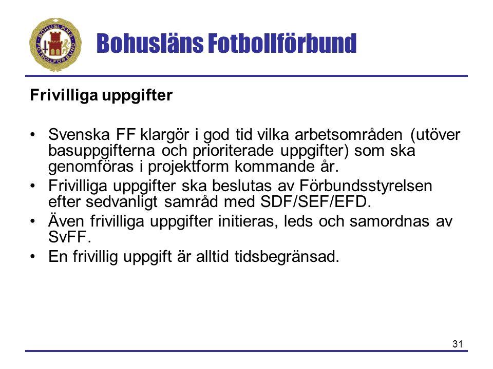 Bohusläns Fotbollförbund 31 Frivilliga uppgifter Svenska FF klargör i god tid vilka arbetsområden (utöver basuppgifterna och prioriterade uppgifter) som ska genomföras i projektform kommande år.