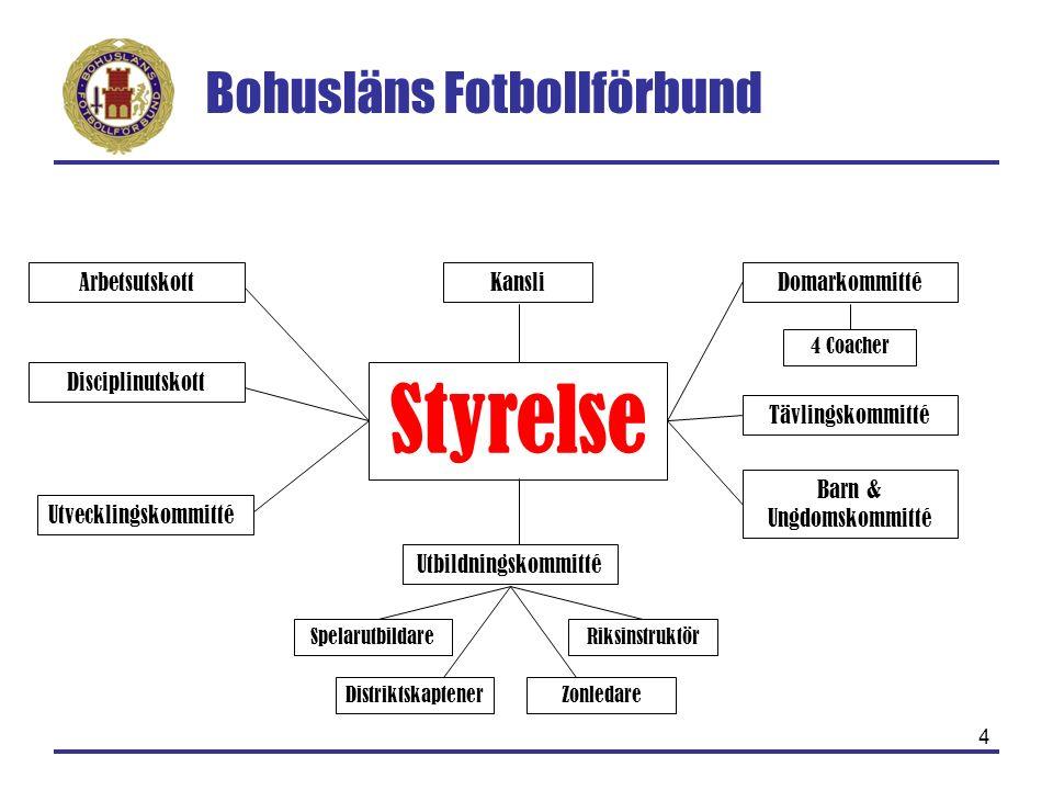 Bohusläns Fotbollförbund 4 Styrelse Arbetsutskott Disciplinutskott Tävlingskommitté Utbildningskommitté Barn & Ungdomskommitté SpelarutbildareRiksinst