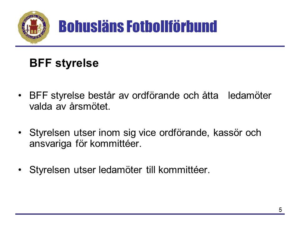 Bohusläns Fotbollförbund 5 BFF styrelse BFF styrelse består av ordförande och åtta ledamöter valda av årsmötet. Styrelsen utser inom sig vice ordföran