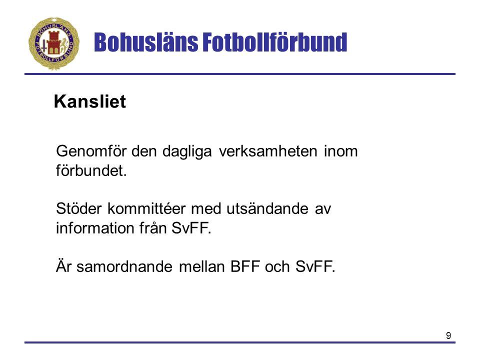 Bohusläns Fotbollförbund 9 Kansliet Genomför den dagliga verksamheten inom förbundet. Stöder kommittéer med utsändande av information från SvFF. Är sa