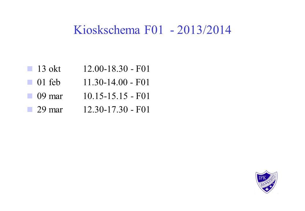 Kioskschema F01 - 2013/2014 13 okt 12.00-18.30 - F01 01 feb 11.30-14.00 - F01 09 mar 10.15-15.15 - F01 29 mar 12.30-17.30 - F01
