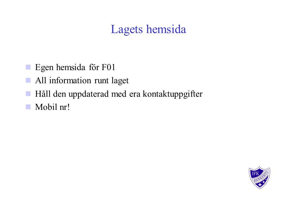 Lagets hemsida Egen hemsida för F01 All information runt laget Håll den uppdaterad med era kontaktuppgifter Mobil nr!