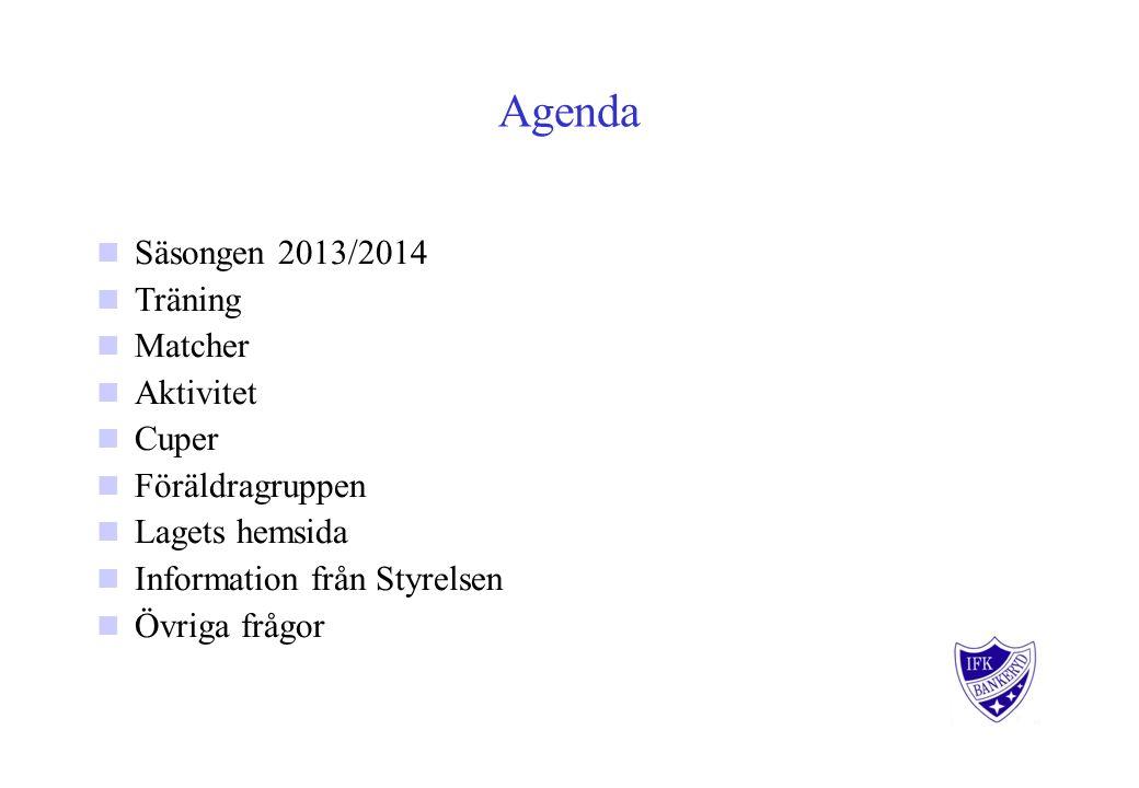 Agenda Säsongen 2013/2014 Träning Matcher Aktivitet Cuper Föräldragruppen Lagets hemsida Information från Styrelsen Övriga frågor