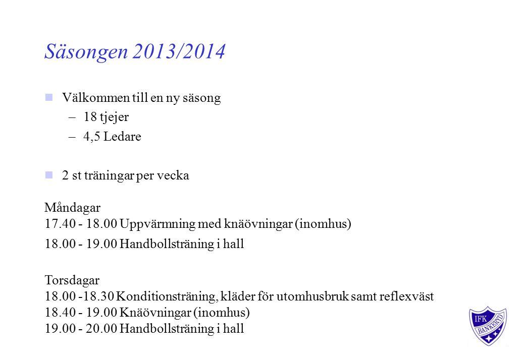 Säsongen 2013/2014 Välkommen till en ny säsong –18 tjejer –4,5 Ledare 2 st träningar per vecka Måndagar 17.40 - 18.00 Uppvärmning med knäövningar (inomhus) 18.00 - 19.00 Handbollsträning i hall Torsdagar 18.00 -18.30 Konditionsträning, kläder för utomhusbruk samt reflexväst 18.40 - 19.00 Knäövningar (inomhus) 19.00 - 20.00 Handbollsträning i hall