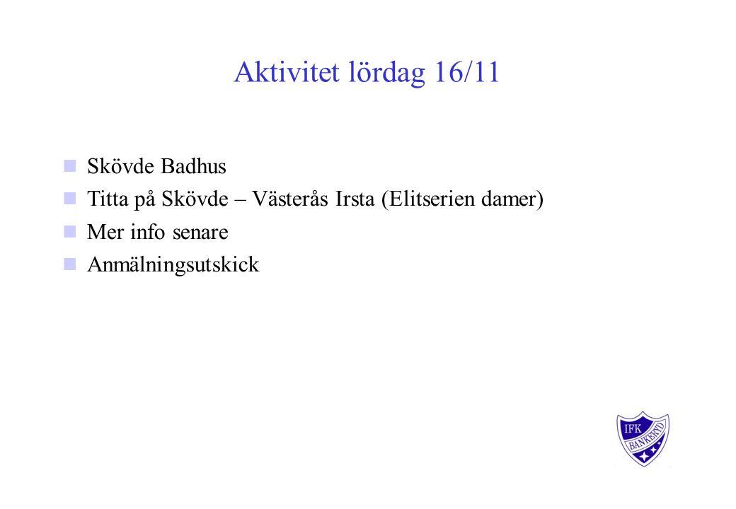 Aktivitet lördag 16/11 Skövde Badhus Titta på Skövde – Västerås Irsta (Elitserien damer) Mer info senare Anmälningsutskick