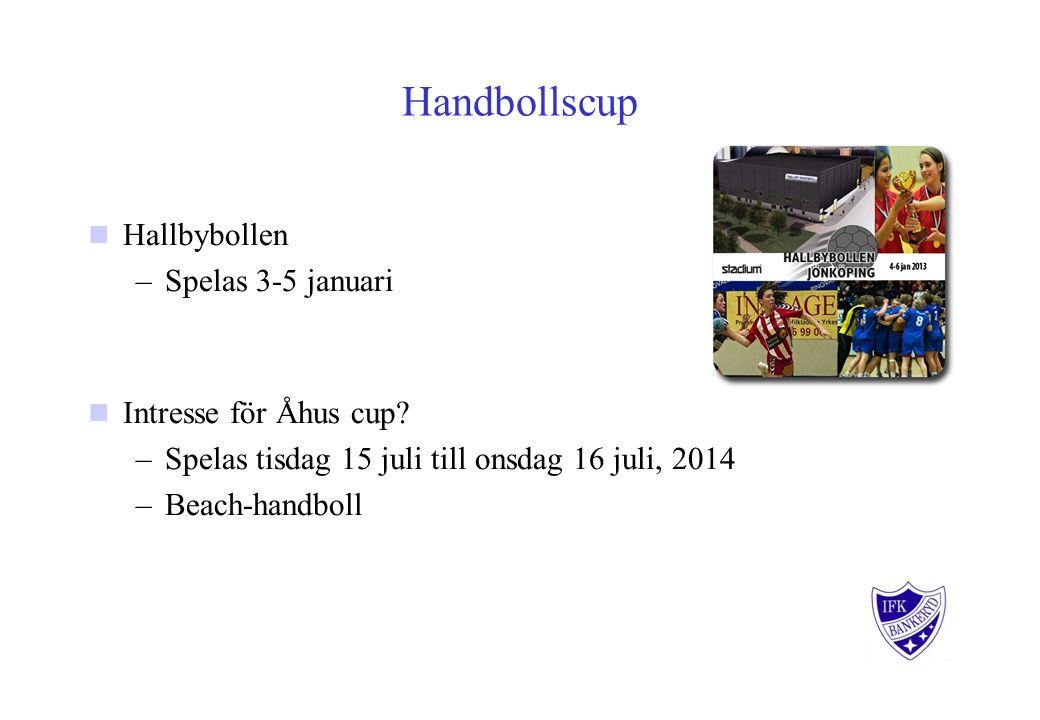 Handbollscup Hallbybollen –Spelas 3-5 januari Intresse för Åhus cup.