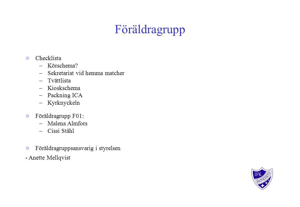 Föräldragrupp Checklista –Körschema.