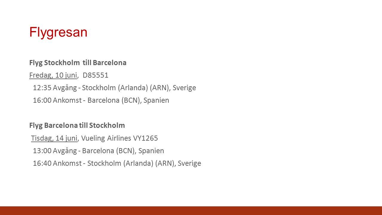 Flygresan Flyg Stockholm till Barcelona Fredag, 10 juni, D85551 12:35 Avgång - Stockholm (Arlanda) (ARN), Sverige 16:00 Ankomst - Barcelona (BCN), Spanien Flyg Barcelona till Stockholm Tisdag, 14 juni, Vueling Airlines VY1265 13:00 Avgång - Barcelona (BCN), Spanien 16:40 Ankomst - Stockholm (Arlanda) (ARN), Sverige