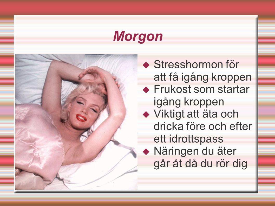 Morgon  Stresshormon för att få igång kroppen  Frukost som startar igång kroppen  Viktigt att äta och dricka före och efter ett idrottspass  Näringen du äter går åt då du rör dig