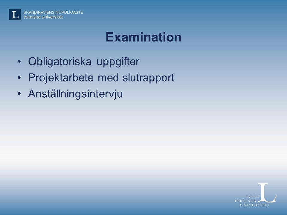 Examination Obligatoriska uppgifter Projektarbete med slutrapport Anställningsintervju