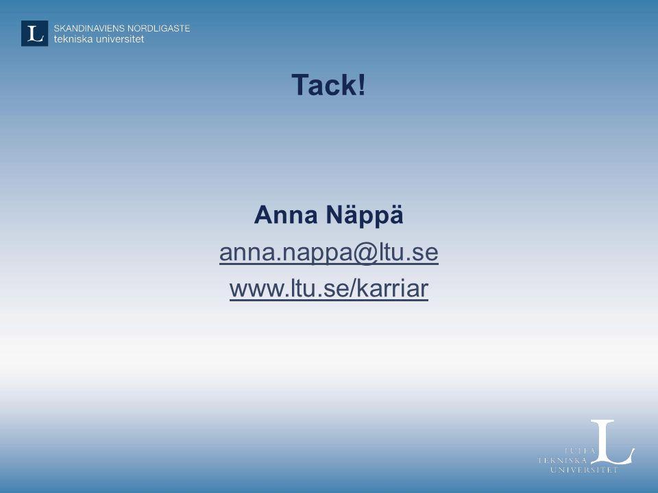 Tack! Anna Näppä anna.nappa@ltu.se www.ltu.se/karriar