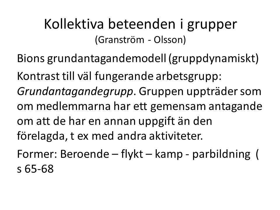 Kollektiva beteenden i grupper (Granström - Olsson) Bions grundantagandemodell (gruppdynamiskt) Kontrast till väl fungerande arbetsgrupp: Grundantagandegrupp.