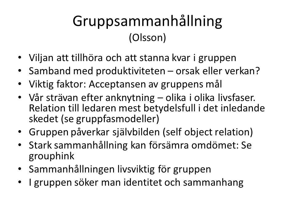 Gruppsammanhållning (Olsson) Viljan att tillhöra och att stanna kvar i gruppen Samband med produktiviteten – orsak eller verkan.