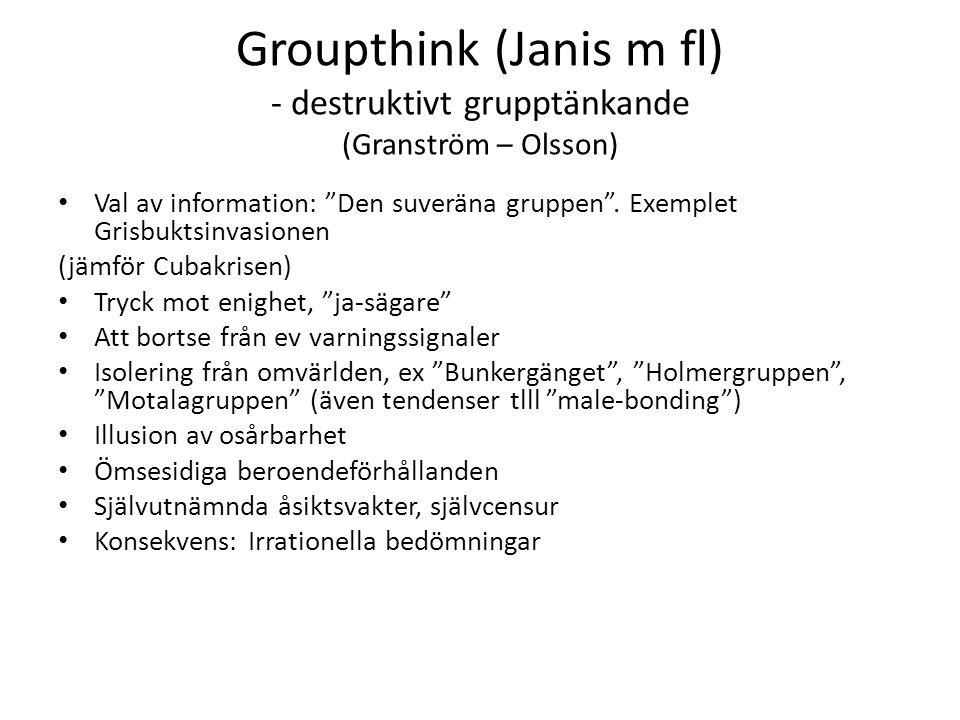 Groupthink (Janis m fl) - destruktivt grupptänkande (Granström – Olsson) Val av information: Den suveräna gruppen .