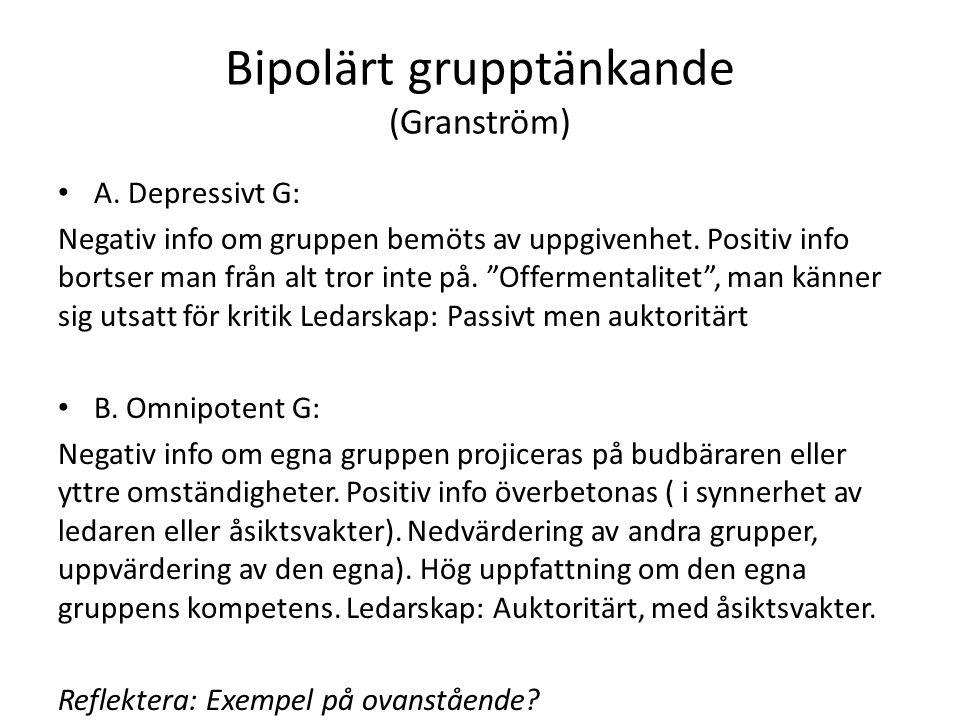 Bipolärt grupptänkande (Granström) A. Depressivt G: Negativ info om gruppen bemöts av uppgivenhet.