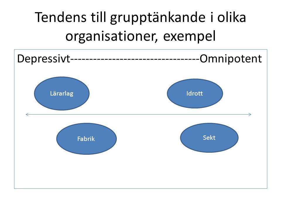Tendens till grupptänkande i olika organisationer, exempel Depressivt----------------------------------Omnipotent Lärarlag Fabrik Sekt Idrott