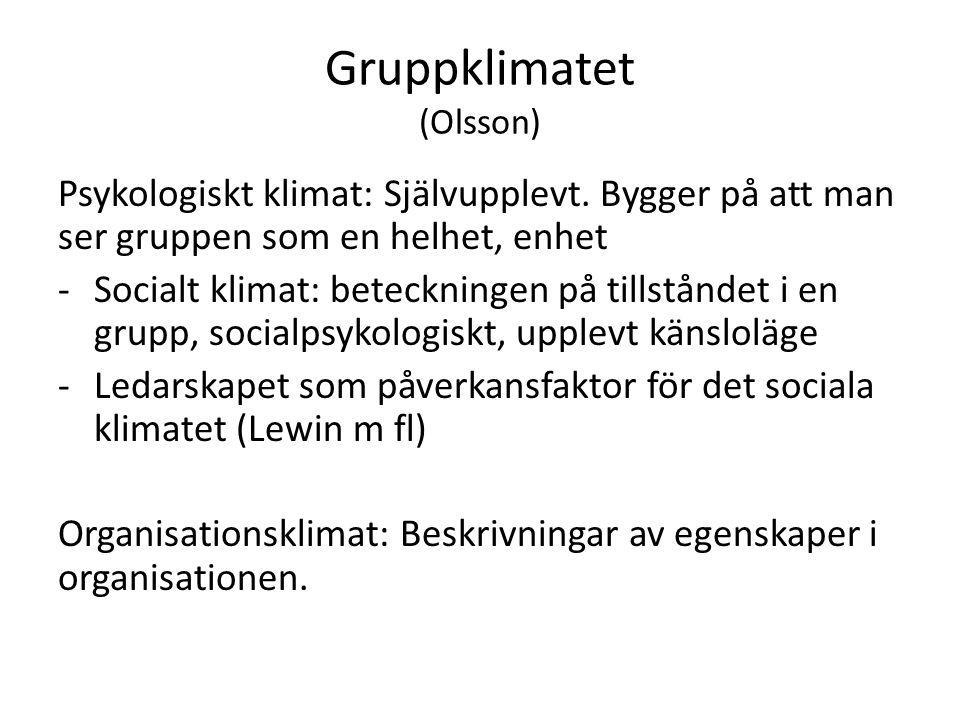 Gruppklimatet (Olsson) Psykologiskt klimat: Självupplevt.