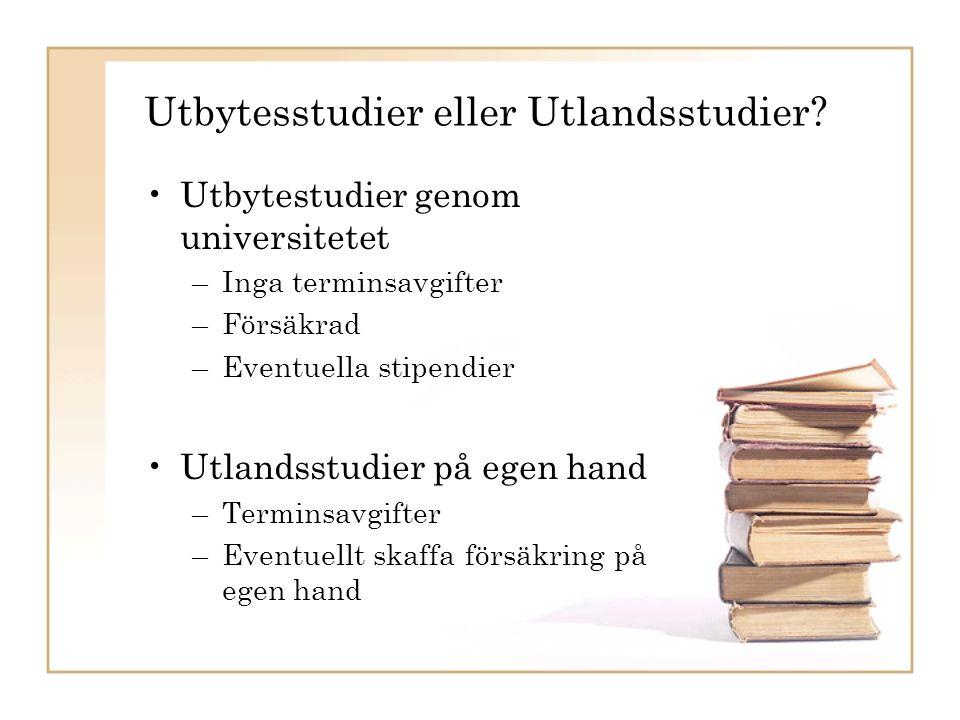 Varför utbytesstudier? Bra merit Bra erfarenhet Utveckla ett andra språk Nyttigt Roligt