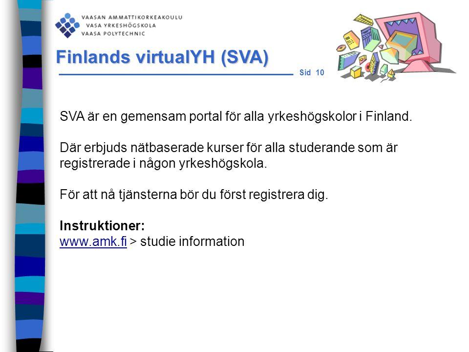Sid 10 SVA är en gemensam portal för alla yrkeshögskolor i Finland.