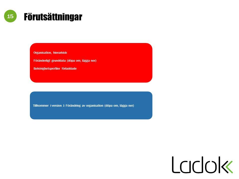 15 Förutsättningar Tillkommer i version J: Förändring av organisation (döpa om, lägga ner) Organisation, hierarkisk Föränderligt grunddata (döpa om, lägga ner) Behörighetsprofiler förladdade