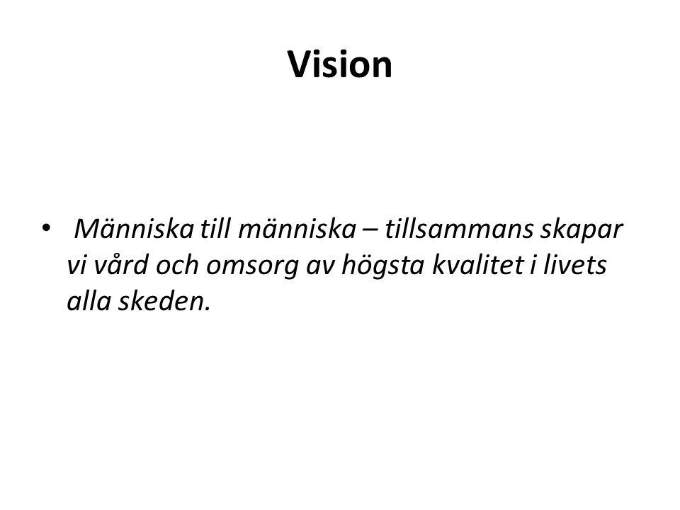 Vision Människa till människa – tillsammans skapar vi vård och omsorg av högsta kvalitet i livets alla skeden.
