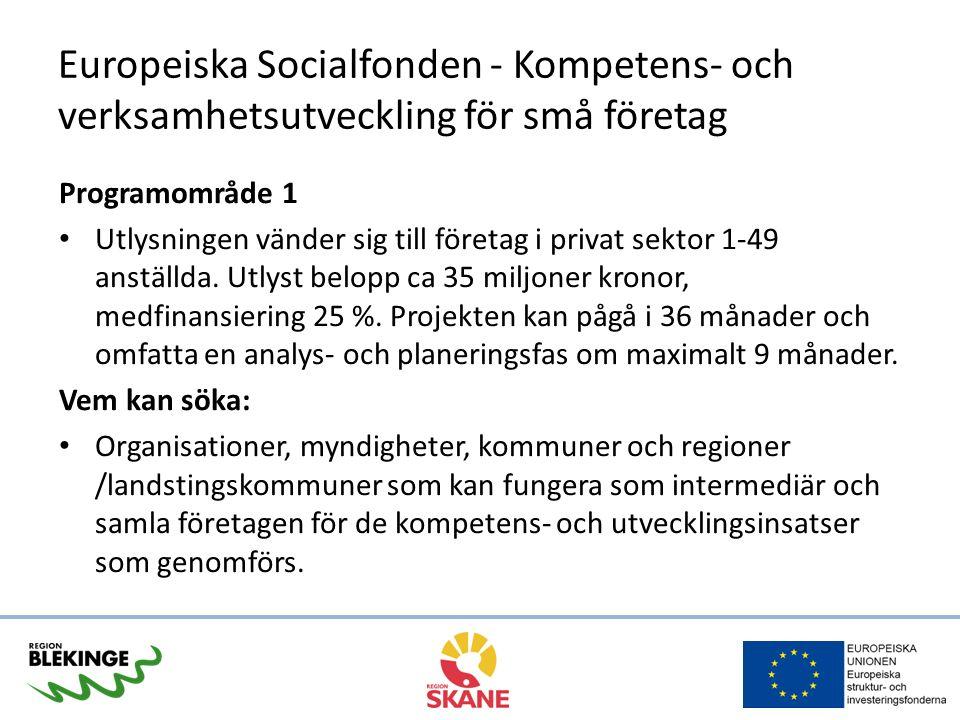Europeiska Socialfonden - Kompetens- och verksamhetsutveckling för små företag Programområde 1 Utlysningen vänder sig till företag i privat sektor 1-49 anställda.