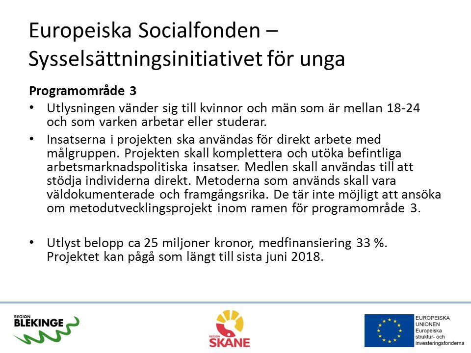 Europeiska Socialfonden – Sysselsättningsinitiativet för unga Programområde 3 Utlysningen vänder sig till kvinnor och män som är mellan 18-24 och som varken arbetar eller studerar.