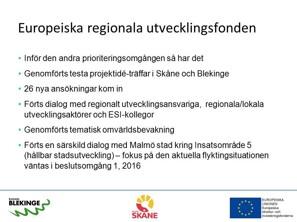 Europeiska regionala utvecklingsfonden 26 ansökningar inom fyra insatsområden 13 ansökningar och 49 miljoner för prioritering Ryms inom årlig beslutsram och ram för insatsområden Skäl för avslag/återtagna: ej i linje med program, icke fullständig ansökan, brist på näringslivets medverkan, ej godkänd i Artikel 7-urval