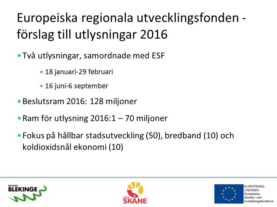 Europeiska regionala utvecklingsfonden - förslag till utlysningar 2016 Två utlysningar, samordnade med ESF 18 januari-29 februari 16 juni-6 september