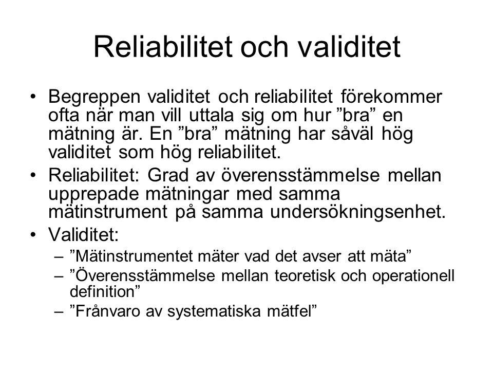 Reliabilitet och validitet Begreppen validitet och reliabilitet förekommer ofta när man vill uttala sig om hur bra en mätning är.