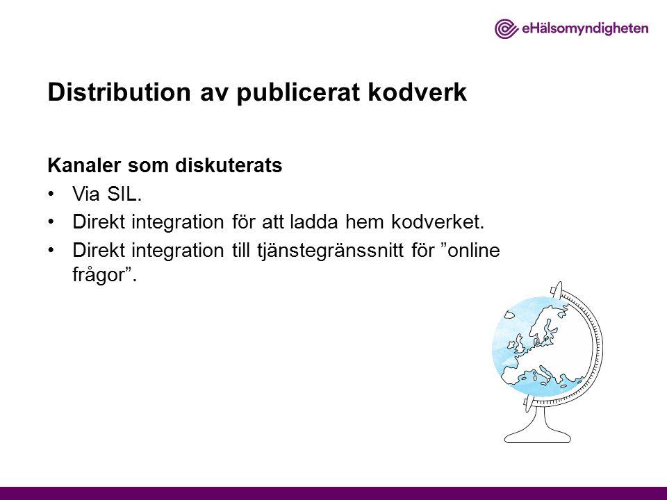 Distribution av publicerat kodverk Kanaler som diskuterats Via SIL. Direkt integration för att ladda hem kodverket. Direkt integration till tjänstegrä