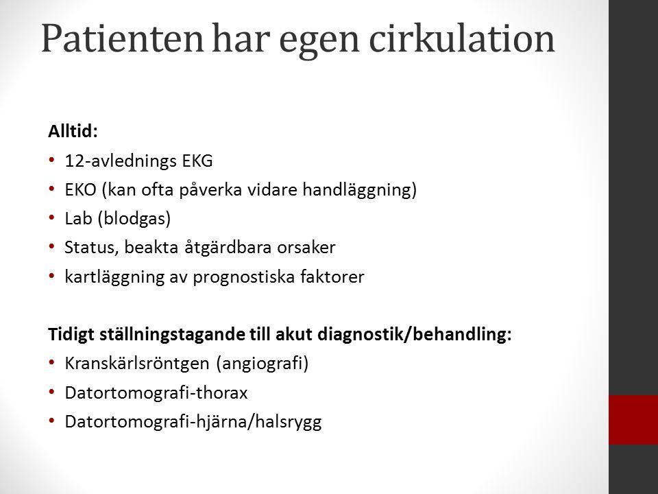Patienten har egen cirkulation Alltid: 12-avlednings EKG EKO (kan ofta påverka vidare handläggning) Lab (blodgas) Status, beakta åtgärdbara orsaker kartläggning av prognostiska faktorer Tidigt ställningstagande till akut diagnostik/behandling: Kranskärlsröntgen (angiografi) Datortomografi-thorax Datortomografi-hjärna/halsrygg