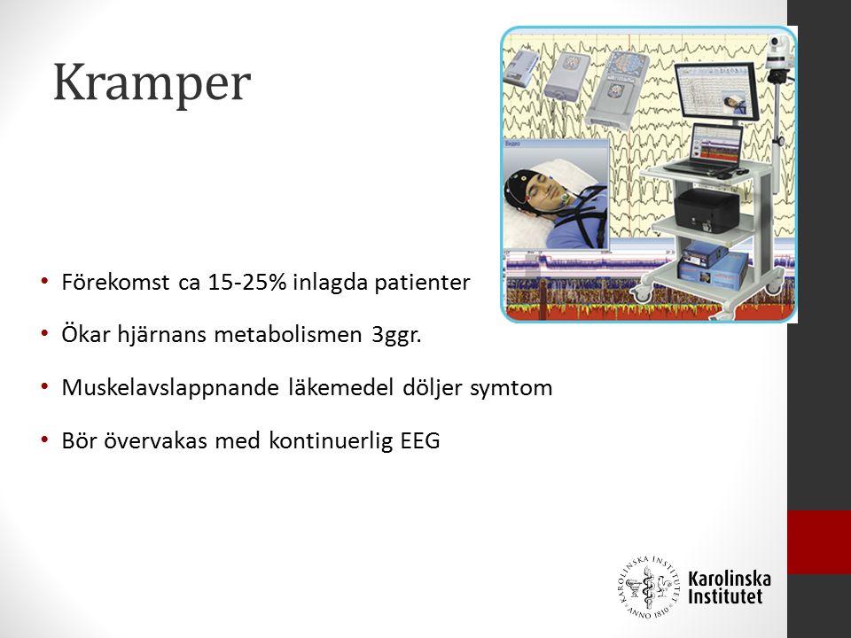 Kramper Förekomst ca 15-25% inlagda patienter Ökar hjärnans metabolismen 3ggr.