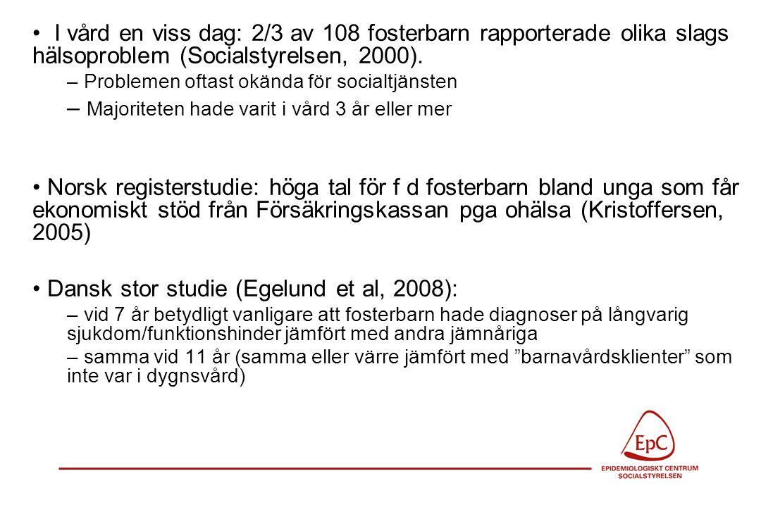 Pågående forskningsprojekt i Malmö; BHV, skolhälsovård och socialtjänsten i samarbete Placerade barns hälsa Steg 1: medicinskt omhändertagande, hälsokontroller inkl tandhälsa En förfärande mängd BVC- och skolhälsovårdsjournaler är borta –viktig hälsoinformation kan inte överföras till f-hemmet, nya skolan, BVC etc Somatisk hälsa berörs ytterst knapphändigt i Soc' journaler