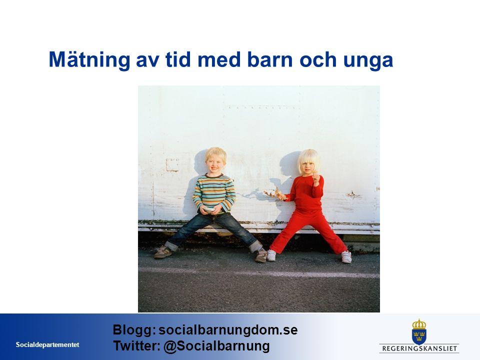 Socialdepartementet Mätning av tid med barn och unga Blogg: socialbarnungdom.se Twitter: @Socialbarnung