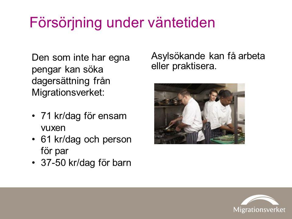 Den som inte har egna pengar kan söka dagersättning från Migrationsverket: 71 kr/dag för ensam vuxen 61 kr/dag och person för par 37-50 kr/dag för barn Asylsökande kan få arbeta eller praktisera.