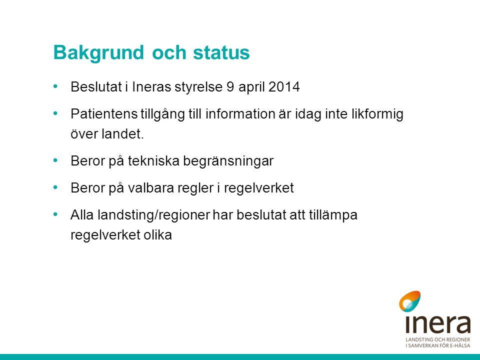 Bakgrund och status Beslutat i Ineras styrelse 9 april 2014 Patientens tillgång till information är idag inte likformig över landet.