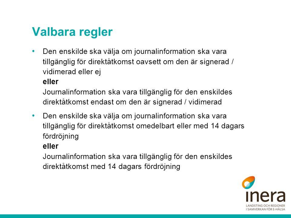 Valbara regler Den enskilde ska välja om journalinformation ska vara tillgänglig för direktåtkomst oavsett om den är signerad / vidimerad eller ej eller Journalinformation ska vara tillgänglig för den enskildes direktåtkomst endast om den är signerad / vidimerad Den enskilde ska välja om journalinformation ska vara tillgänglig för direktåtkomst omedelbart eller med 14 dagars fördröjning eller Journalinformation ska vara tillgänglig för den enskildes direktåtkomst med 14 dagars fördröjning