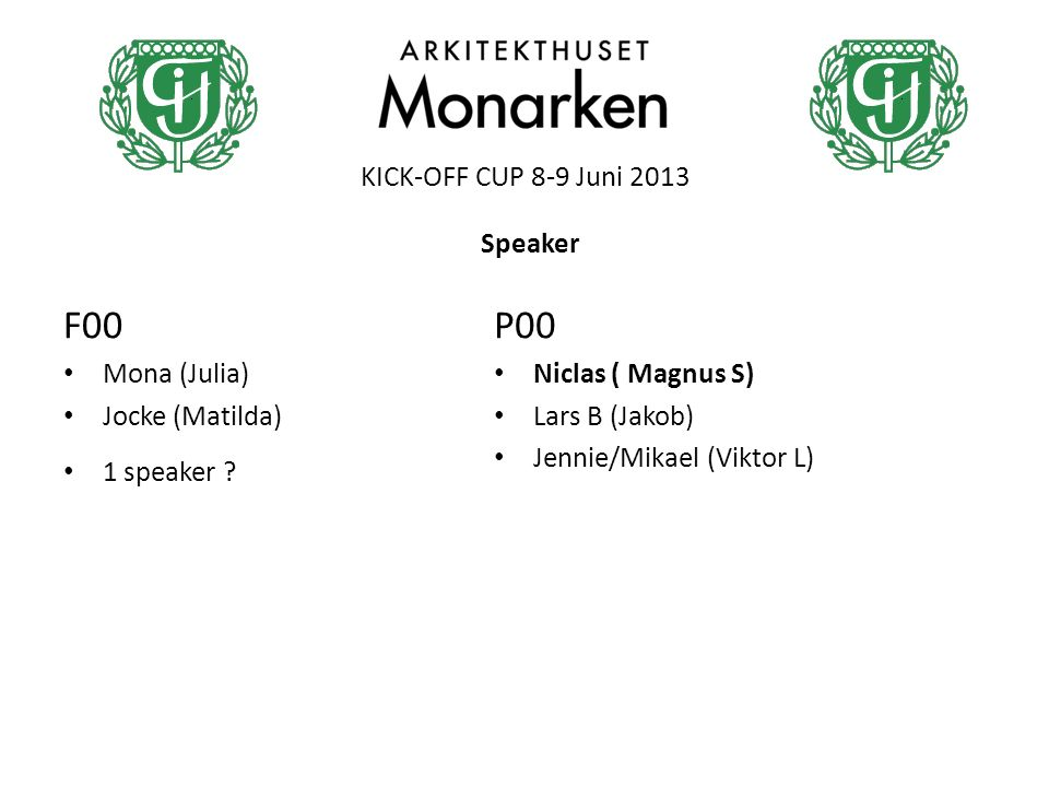 KICK-OFF CUP 8-9 Juni 2013 F00 Mona (Julia) Jocke (Matilda) 1 speaker ? P00 Niclas ( Magnus S) Lars B (Jakob) Jennie/Mikael (Viktor L) Speaker