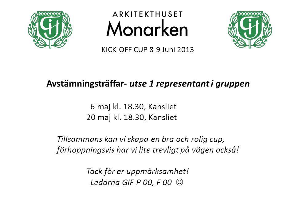 KICK-OFF CUP 8-9 Juni 2013 Avstämningsträffar- utse 1 representant i gruppen 6 maj kl.