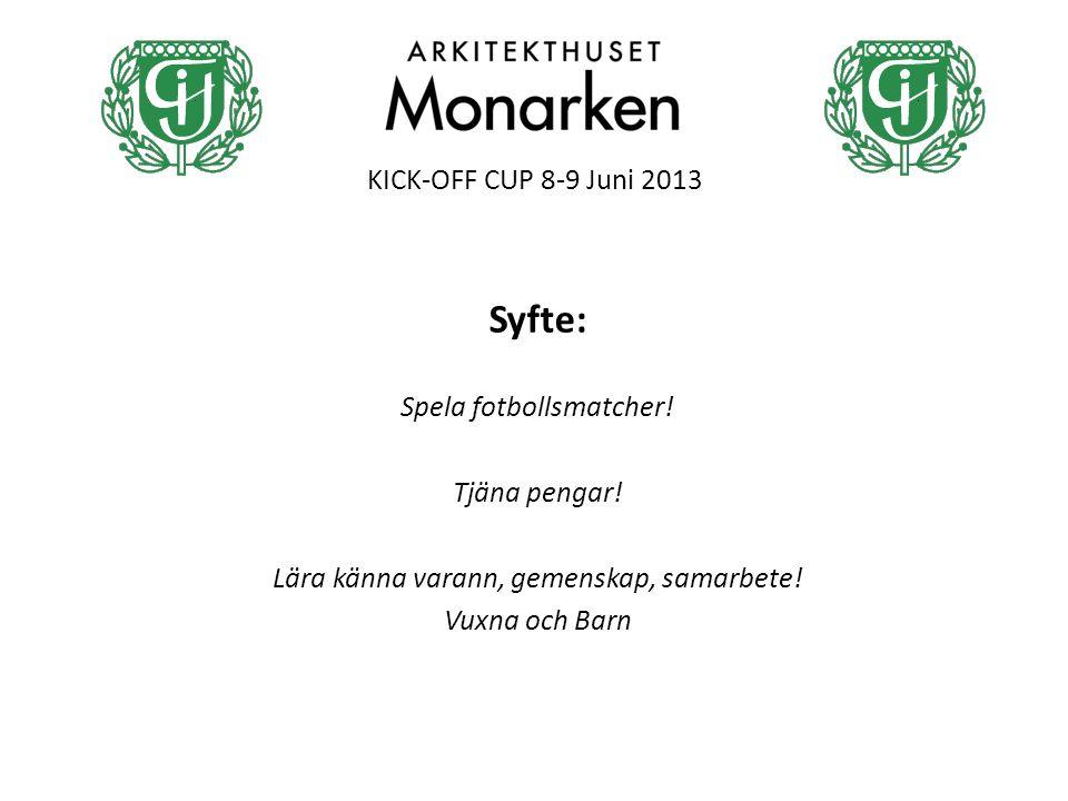 KICK-OFF CUP 8-9 Juni 2013 Syfte: Spela fotbollsmatcher! Tjäna pengar! Lära känna varann, gemenskap, samarbete! Vuxna och Barn